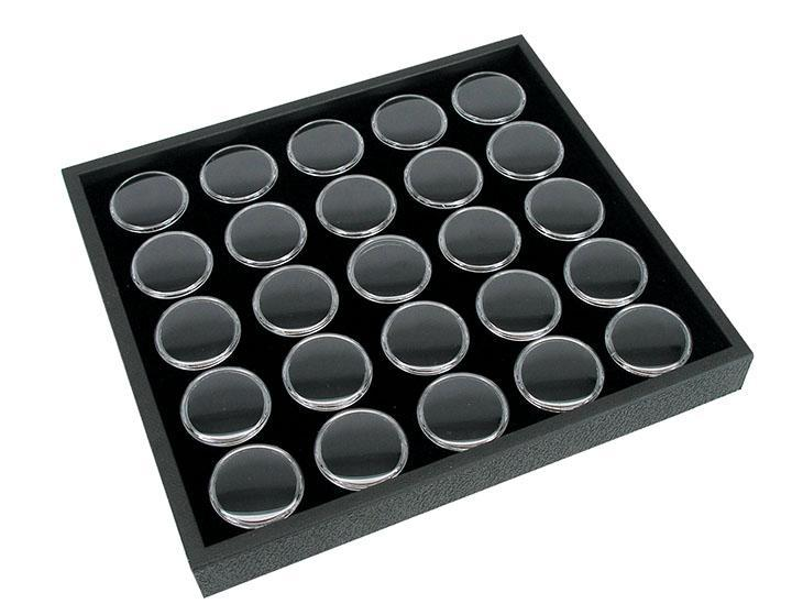 magnifying boxes in tray