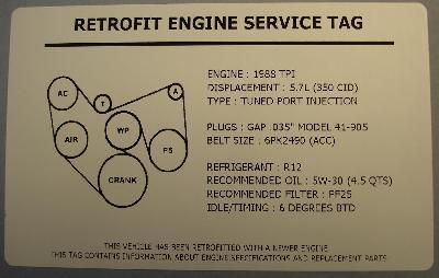1992 Camaro/Firebird 305 TPI Engine Swap Underhood Service Decal