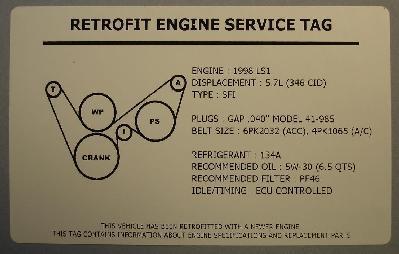 2008 Corvette LS3 Engine Swap Underhood Service Decal