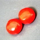 GRADING REPORT PCOR140  - Identification: Natural Unheated & Untreated Red Corals - Carat: 1.40 (0.69 & 0.71) - Shape: Round - Measures: 5.23-5.38x2.99 & 5.31-5.30x3.01  (millimeter) - Color Grade: Excellent - Tone: MD60 - Color Zoning / Texture: No zoning, smooth surface, dense clean texture - Clarity: Opaque / No visible inclusions - Cutting Grade: Very Good   - Finish: Very Good   - Depth: 57/57% - Origin: Italy  Treatment: None  Certificate No: IGI 291763884 (test from identical parcel)  Overall Grade: Excellent  Comment: Two equal rounds selected from an antique parcel of first grade red-orange Italian corals, one of which we sampled and had tested by IGI (report under 'more images') during a Jyotish jewelry project requiring, amongst others, a big oval piece of natural red coral. During that year-long hunt for old stock of quality corals, we found this small lot of rounds on the side. The number of rejected fakes, treated, or low quality specimens we acquired and/or ripped from antique jewelry to test, meanwhile, were legion. We did find one in the end, had it tested and re-cut, but it's still with us (really long story) because of a white streak on it's underside. The same type of streak you can see on the image of the backsides of one here. These are natural indents found in every natural coral as shown and explained in the above mentioned 4.38, being the cleared living-space of the former inhabitant, which you'll not find in synthetic or otherwise faked coral. Although natural and thus a sign for quality, the very best corals for jewelry have as few as possible of these white marks on the upper side. Obviously, in very big pieces, like the 4.38 we hunted, the chances of an utterly undisturbed upper surface decrease rapidly. Neither of these 5+mm rounds have any white dots on their upper sides. Inviting simple studs, both shine in the best coral red-orange, in exchangeable sizes, shapes, heights, shades, hue, tones, and anything else you ought to look at whe