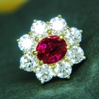 gold earrings with natural ruby's and diamonds