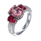 3 natural padparadschas in platinum ring