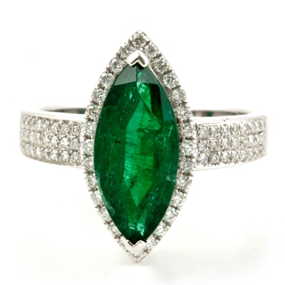 white gold and diamonds with 3 carat unoiled carats Zambian emerald in marquise shape