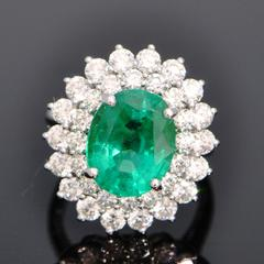 Unoiled Colombian Emerald in platinum