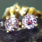 untreated rubellite earrings