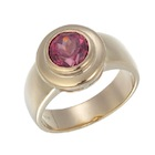 malaya garnet untreated in 18k yellow gold bezel setting ring