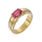 not treated or heat pink thai sapphire set in four prongs 18k gold ring