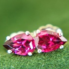 untreated rhodolite earrings