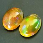 untreated green in orange welo opal crystal