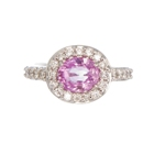 untreated pink sapphire with diamonds in gold