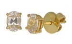 pair of natural zircons set in yellow gold earrings