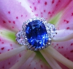 sri lanka's blue sapphire untreated no heat set in halo ring