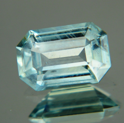 Silvery green blue Montana sapphire emerald shaped