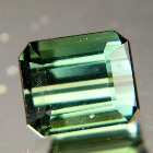 dark blue green tourmaline without inclusions or treatments emerald cut IGI report