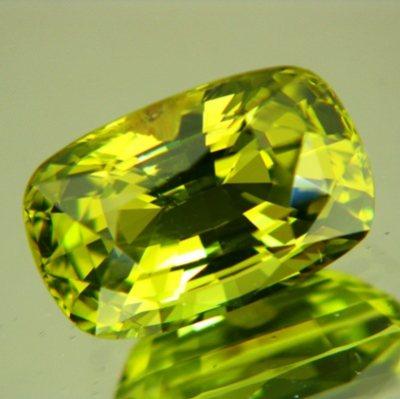 neon lime green chrysoberyl cushion shaped