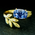 natural untreated cobalt spinel in adjustable gold ring