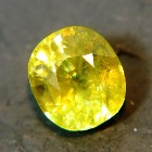 cushion sphene with IGI certificate in yellow green