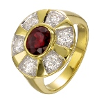 Ruby and diamonds natural in gold ring handmade craftsmanship wonderful piece of jewelry