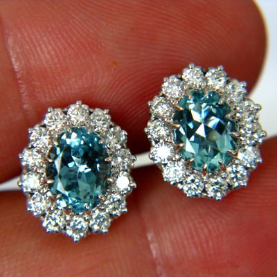 white gold and diamonds with neon blue aquamarine earrings