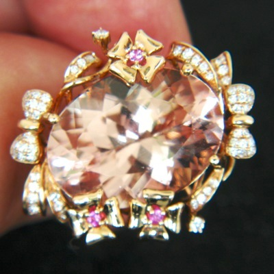 rose pink morganite in pink gold and diamonds and jewelry from the old mines