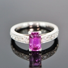 neon red-pink sapphire from Burma in platinum