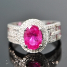 white gold and diamonds surrounding two and half carat unheated Mogok ruby