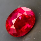 deep red ruby without inclusions or treatments, oval