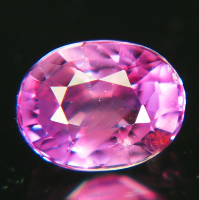 heart shaped inclusion in red sapphire