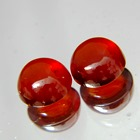 pair hessonite garnet in round cabochon red orange