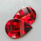 matching pear 3D checkerboard pair kernel shaped in orange red no-heat garnets for a pair of earring