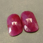 matching pair of certified untreated extra large pink opaque sapphire in rose cut