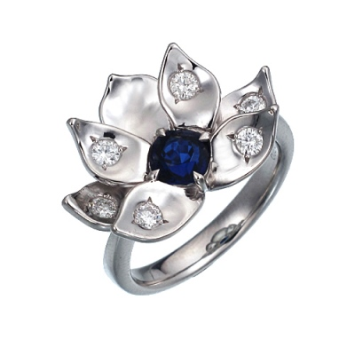 untreated burmese sapphire with diamonds in lotus ptalinum flower