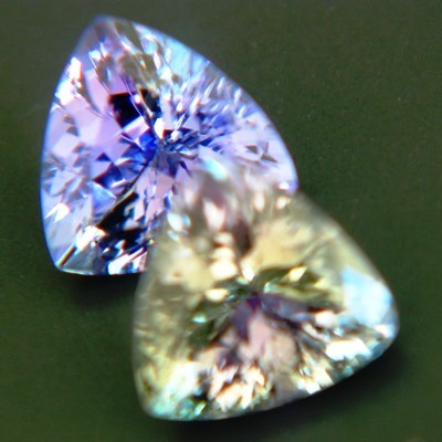matching pair of certified untreated tanzanites in highest quality