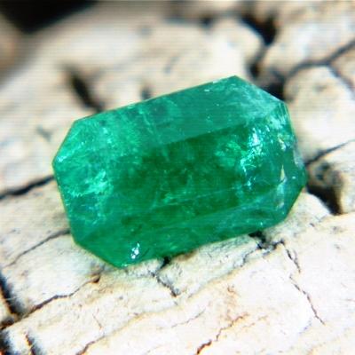 vivid green Sandawana emerald in pear shape