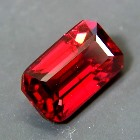 unheated deep red emerald-cut rhodolite from sri lanka