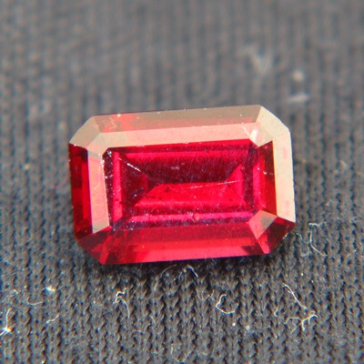 red garnet from sri lanka free of treatments, emerald cut, deep red