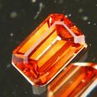 precision cut unheated red-golden zircon from Sri Lanka in rectangular emerald cut