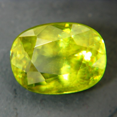 Lime green russian sphene over four carat