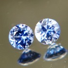 matched round brilliant pair in sky blue no-heat sapphires for a pair of studs or sidestones