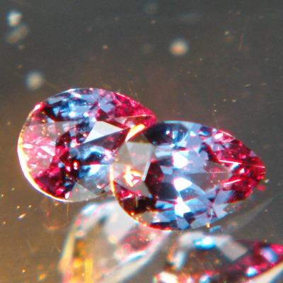 the rarest CC in the gem world green to red in garnets as pair for earirings