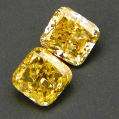 natural color diamond pair for earrings in fancy yellow