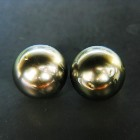 fine steal-silver pair for earrings with saltwater tahiti black-lipped oyster pearl