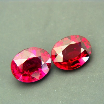 pair unheated rose red rubies