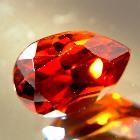 unheated red zircon from Sri Lanka in wide pear shape