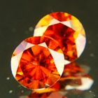pair orange hessonite clean and certified