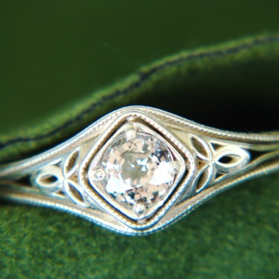 untreated sapphire silver ring