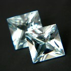 square princess pair of studs or posh designs in aquamarine best quality