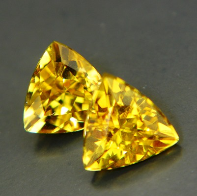 matching pair of certified unheated trillion beryls in canary yelloe
