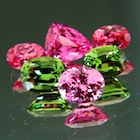 set of natural spinels, tourmalines and zircon