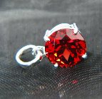 natural untreated unheated red garnet set on platinum pendant